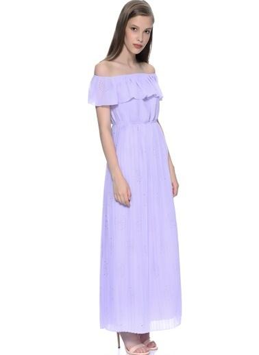 Darling Uzun Kayık Yaka Abiye Elbise Lila